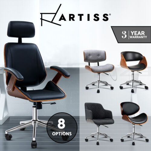Artiss Office Chair Executive Computer Chairs Wooden Work Seating Vintage <br/> Meeting Chair / 3-Yr Warranty / Quality PU Leather