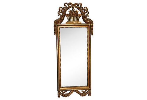 19thc. FRENCH LOUIS XVI style CARVED GILTWOOD MIRROR