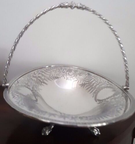 Antique Mid-Victorian James Dixon & Sons Chased Cake Swing Basket - Fern Pattern