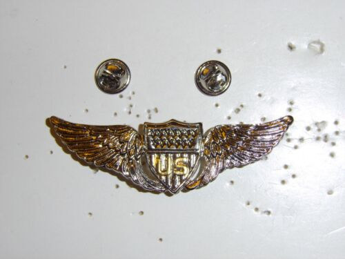 b0428 WW 1 US Army Pilot Silver metal wing late IR30CReproductions - 156372