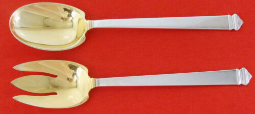 "HAMPTON by Tiffany Sterling Silver 10 1/8"" SALAD SET, Gold-Washed, No Monogram"