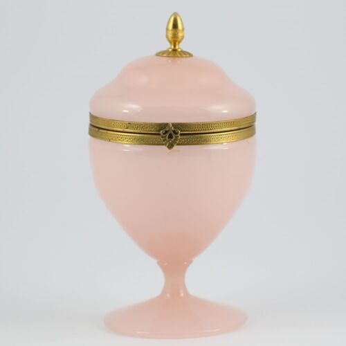 Antique French pink opaline crystal glass Trinket Box, hinged lid, ormolu