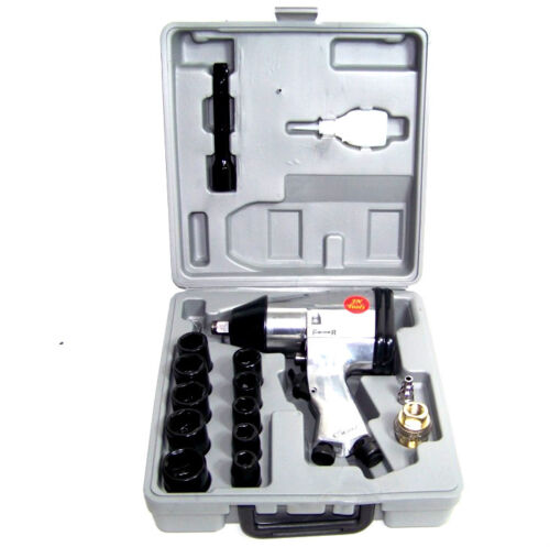 """AIR IMPACT WRENCH 17 PC 1/2"""" DRIVE WITH 10 1/2 DR SOCKETS 1 EXTENSION BAR OILER"""