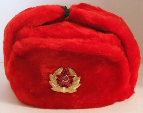 RUSSIAN AUTHENTIC USHANKA RED MILITARY HAT WITH SOVIET RED ARMY BADGE STYLE 2