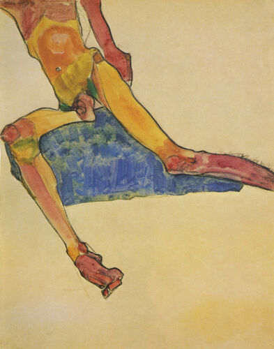 Egon Schiele Torso Of A Seated Male Nude Print 11 x 14 # 3994