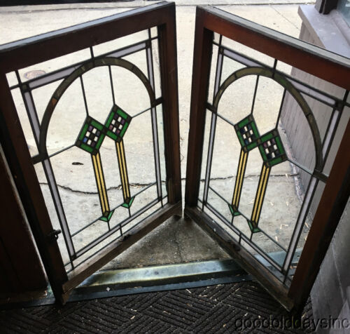 "2 of 9 Antique Chicago Bungalow Style Stained Leaded Glass Window 33 1/2"" x 26"""