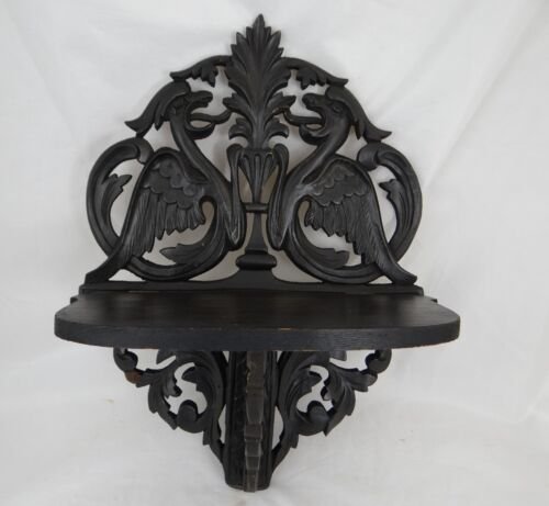 Antique French Hand Carved Wood Wall Shelf with Griffin - 19th Napoleon III