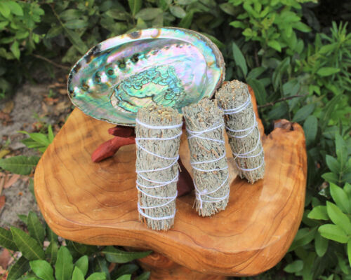 Smudge Kit Large Abalone Shell Wooden Stand & 3 Three White Sage Smudge Bundles