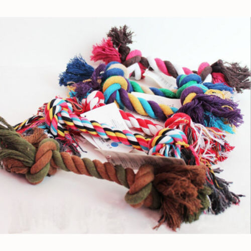 1X Puppy Dog Pet Toy Cotton Braided Bone Rope Teeth Clean Tug Chewing Treat Knot