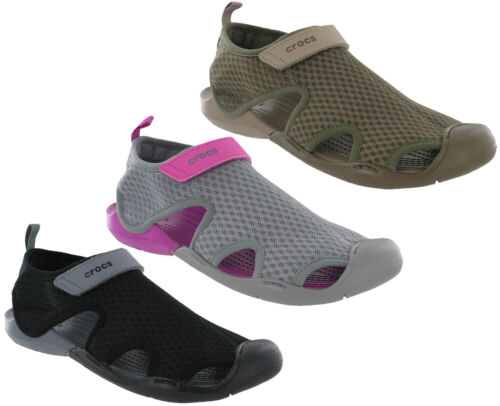 Crocs Swiftwater Sandals Beach Mesh Summer Holiday Flat Sea Shoes Womens