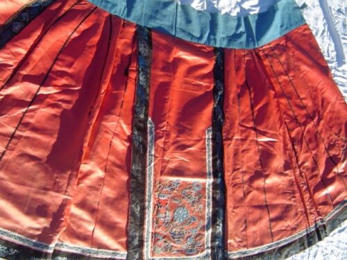 Antique Chinese Hand-Embroidered Wedding Skirt