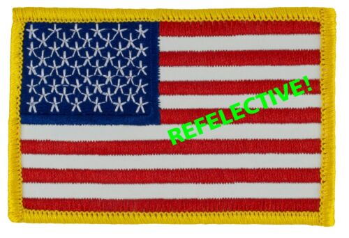 """REFLECTIVE US Flag Patch Forward Full Color(Sew-on) (L11) 2 1/4"""" x 3 3/8"""" -48304Reproductions - 156470"""