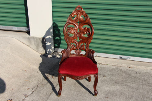 Beautiful Walnut Victorian Rococo Slipper Chair with Heavily Carved Back Ca.1860