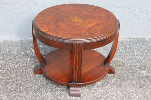 FRENCH ART DECO 2 TIER OCCASIONAL TABLE, BURLWOOD TOP -1930's