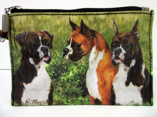 New Boxer Dog Zippered Handy Pouch Make-up/Coin Purse 3 Boxers Pet Dogs By Ruth