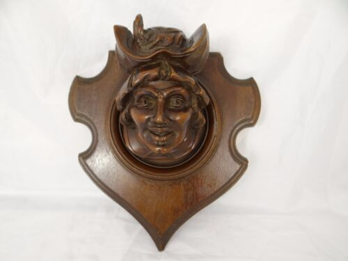 Antique French Hand Finely Carved Head Of Nobleman Wall Plaque - Mahogany N°1