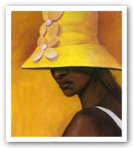 Yellow Hat by Laurie Cooper African-American Art Print 25x20