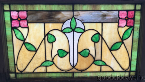 "Antique 1920's Stained Leaded Glass Transom Window 32"" by 21"""