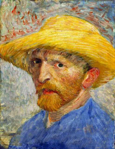 Oil painting portrait Vincent Van Gogh Self-Portrait with Straw Hat Hand painted