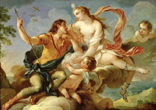 Oil painting romantic young lovers Venus Mars and angels playing Hand painted
