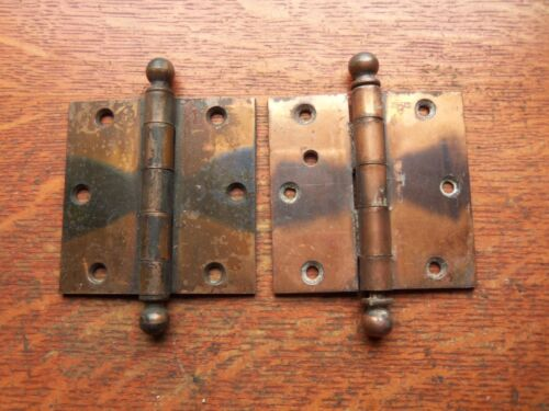 Two Victorian Vintage Antique Copper-Flashed Door Hinges by Stanley 3 1/2""