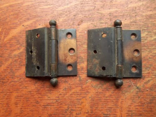 """Two Victorian Antique Copper-Flashed Offset Door Hinges c1885  2 1/2"""""""