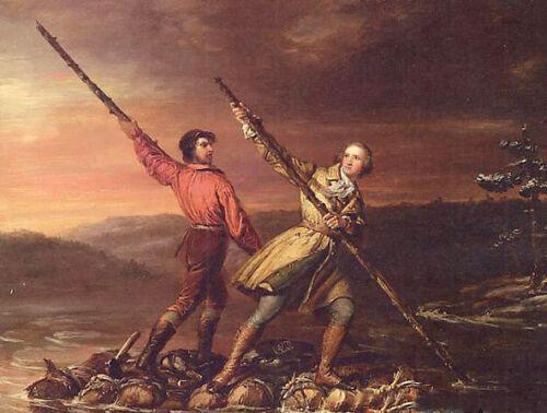 Oil Daniel Huntington - George Washington and Christopher Gist on the Allegheny