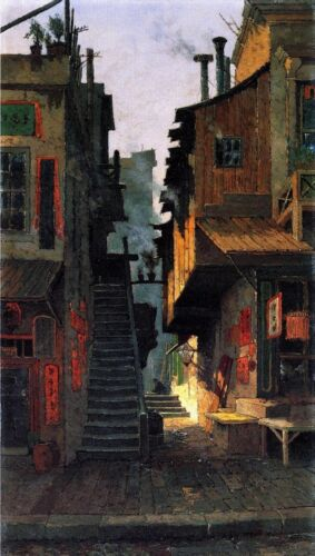 Oil painting Edwin Deakin Court in Chinatown San Francisco Hand painted canvas