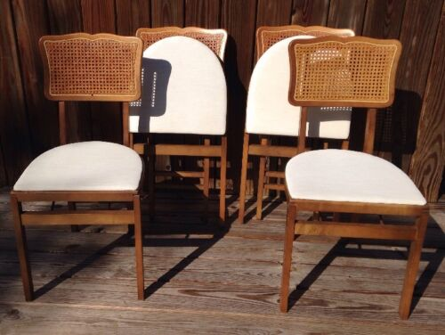 VINTAGE SET OF (4) STAKMORE MID CENTURY CANE BACK Wooden FOLDING CHAIRS