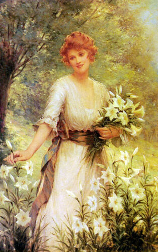 Excellent Oil painting Kendrick Sydney - Young woman Picking Wild Flowers canvas