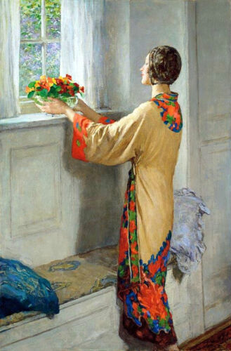 Huge art Oil painting A New Day young woman putting flowers on her Windowsill