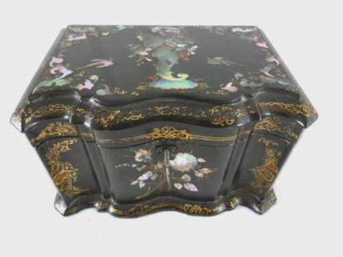 ANTIQUE TEA CADDY BOX  PAPIER MACHE MOTHER OF PEARL ABALONE  English C 1875