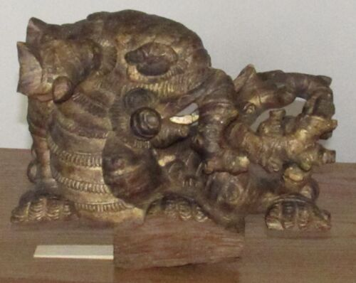 """Antique Chinese? gilt wood temple carving dragon/elephant tree branches 11x15x6"""""""