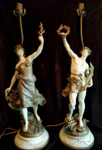 Pair Antique Vintage French Art Nouveau Louis Moreau Figural Spelter Table Lamps