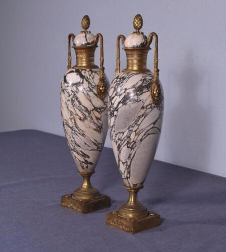 """17"""" Pair of Antique French Neoclassical Marble & Bronze Urns"""
