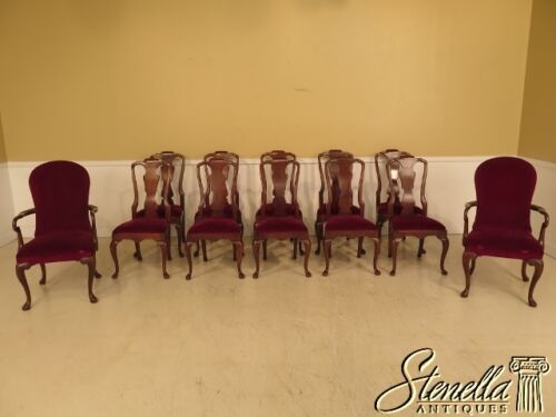 L22974E: Set Of 12 HENREDON Queen Anne Mahogany Dining Room Chairs