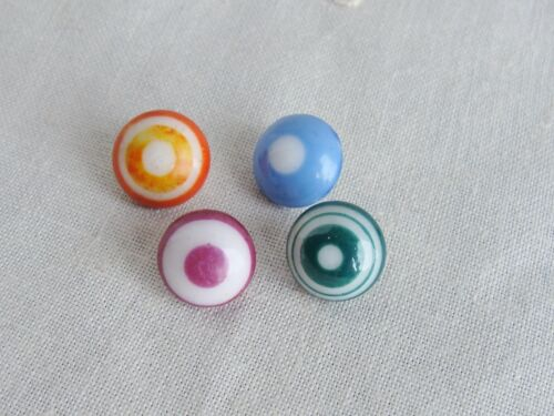 Antique Bulls Eye China Buttons Lot of 4
