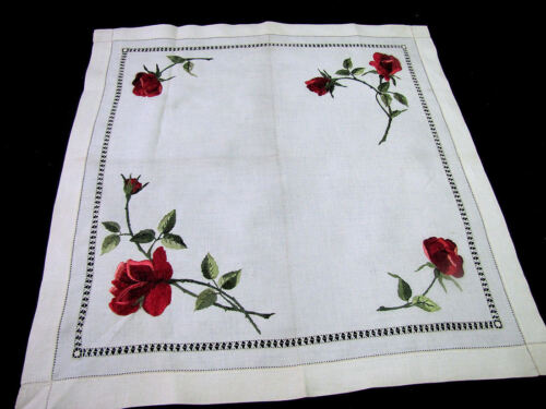 "Antique Society Silk Hand Embroidered 24"" Linen Table Topper Red Roses"