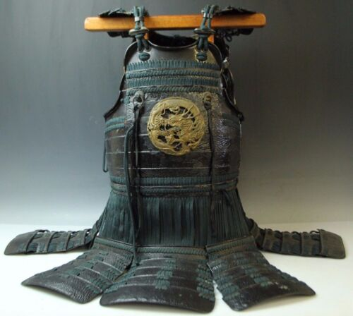 JAPANESE LATE EDO SAMURAI IRON LEATHER ARMOR YOROI DOU A172