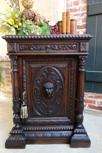 Antique French Carved Dark Oak Renaissance Cabinet Bookcase Stand Victorian
