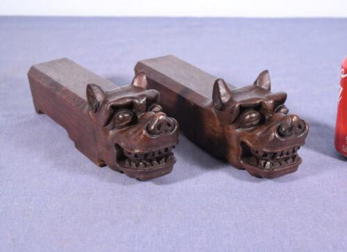 *Antique Asian Hand Carved Oak Wood Trim Dragon Heads Salvage