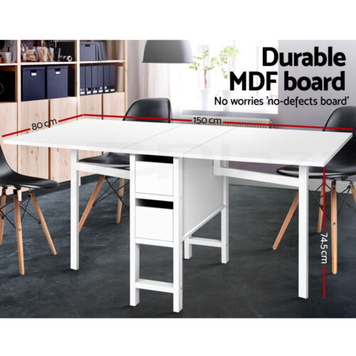 Artiss Extendable Dining Table Folding Sewing Computer Laptop Desk White <br/> ✔Foldable Design✔Highest Quality✔Sturdy Construction✔