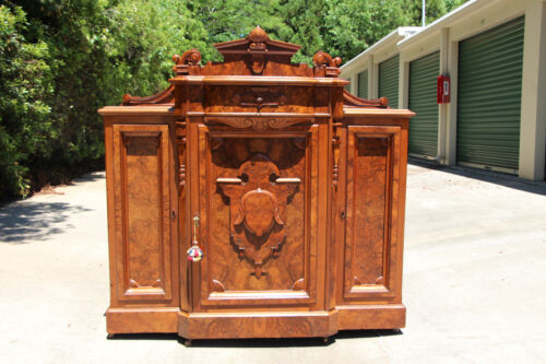 Spectacular Brooks Heavily Burled Walnut Victorian Marble Top Credenza Cabinet