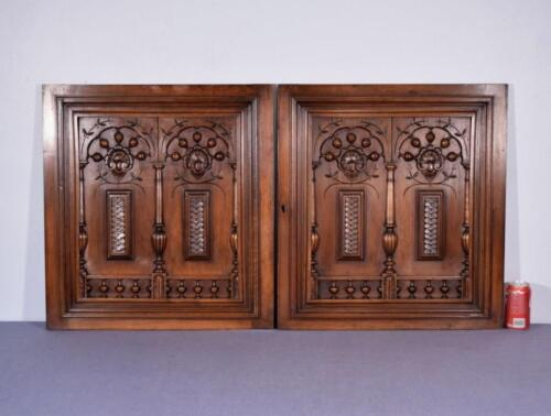 """Pair of 26"""" Tall French Antique Carved Panels in Walnut Wood with Nautical Theme"""