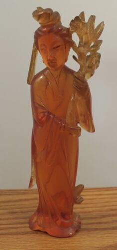 """Vintage Chinese carved statue woman 250 grams 8"""" tall amber?"""