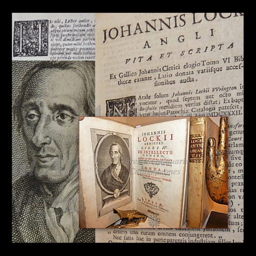 FILOSOFIA - LOCKE, John: DE INTELLECTU HUMANO 2 volumi 1758 Pergamena Ritratto