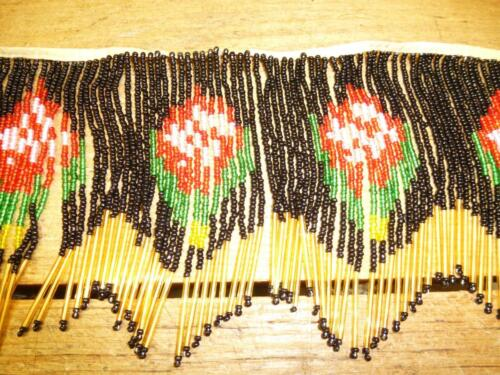 Antique 1920s GLASS BEAD WORK FRINGE TRIM For Lamp Shade Unused Black Red FLoral