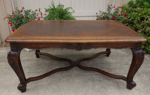 Antique FRENCH Country Carved Tiger Oak Dining Kitchen TABLE Parquet Farmhouse
