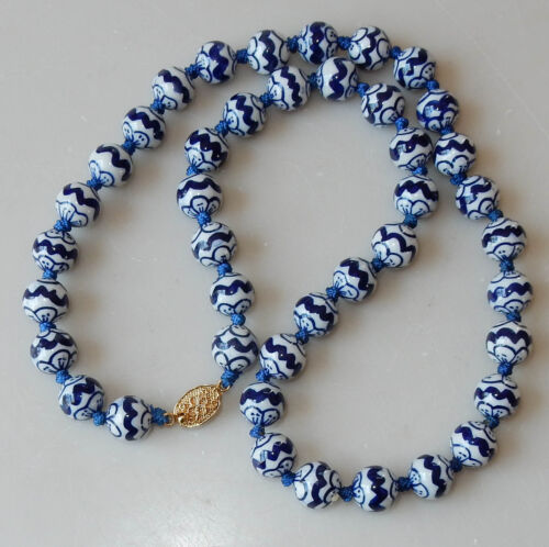 "Vintage 23"" Chinese Blue White Hand Painted Porcelain Beads Strand #249"