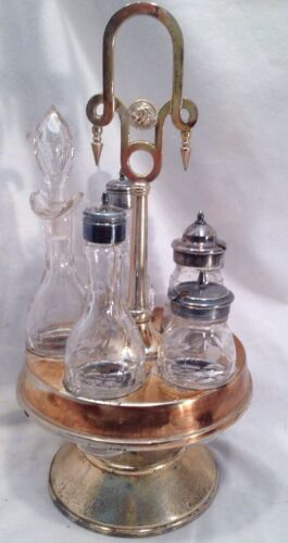 Antique Silverplate Cruet Castor Set Rogers Smith & Co Etched Glass Condiment